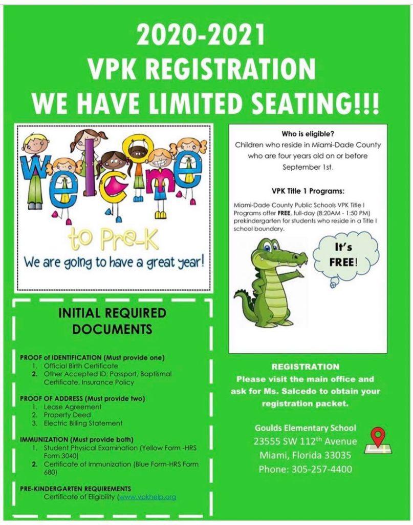pre kindergarten registration flyer